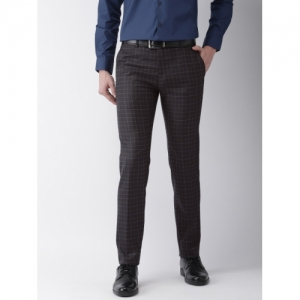 Raymond Men Navy Slim Fit Checked Formal Trousers