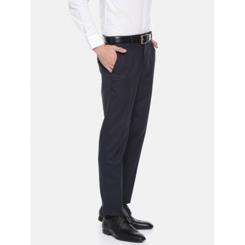 Raymond Men Navy Blue Slim Fit Solid Formal Trousers