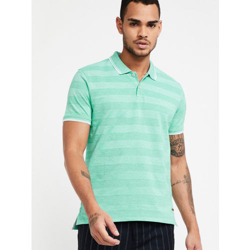 CODE by Lifestyle Men Green Striped Polo Collar T-shirt