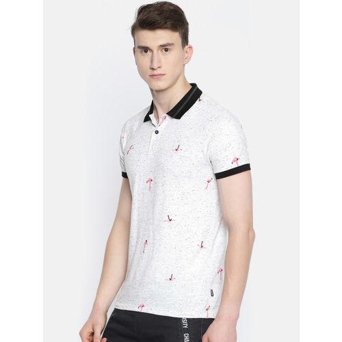 Jack & Jones Men White Printed Slim Fit Polo Collar T-shirt