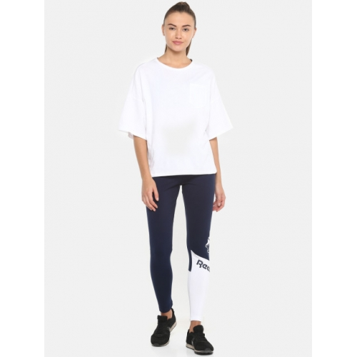 Reebok Classic Women Navy Blue Solid Logo Tights