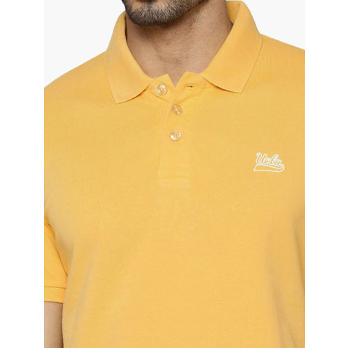 UCLA Men Yellow Solid Polo Collar T-shirt