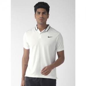 Nike Men White Solid Standard Fit POLO PIQUE Dri-FIT Tennis T-shirt