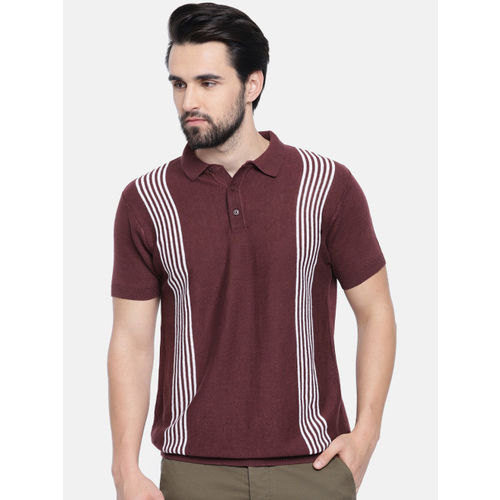 Jack & Jones Men Brown & White Striped Slim Fit Polo Collar T-shirt