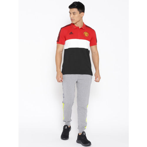 ADIDAS Men Red & Black Manchester United F.C. Striped Polo T-shirt