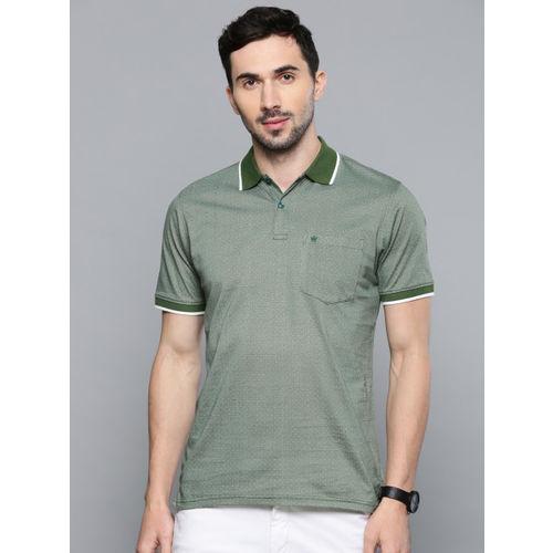 Louis Philippe Men Green & White Self Design Polo Collar T-shirt