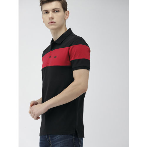 Levis Men Black & Red Colourblocked Slim Fit Polo Collar T-shirt
