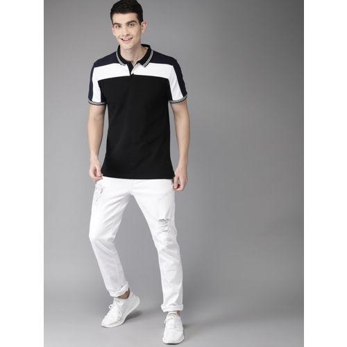 HERE&NOW Men Black & White Colourblocked Polo Collar T-shirt