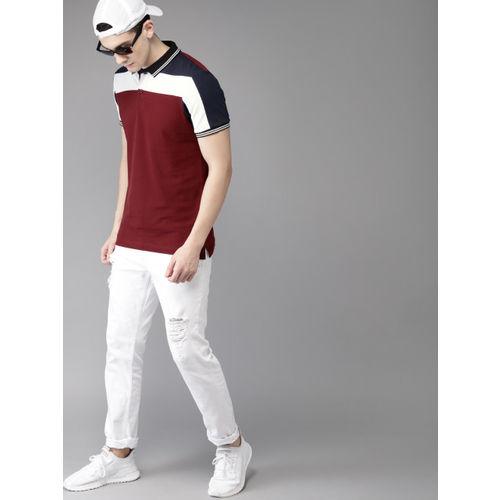 HERE&NOW Men Maroon & White Colourblocked Polo Collar T-shirt