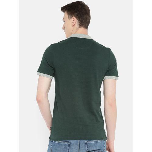 Jack & Jones Men Green Self Design Slim Fit Polo Collar T-shirt