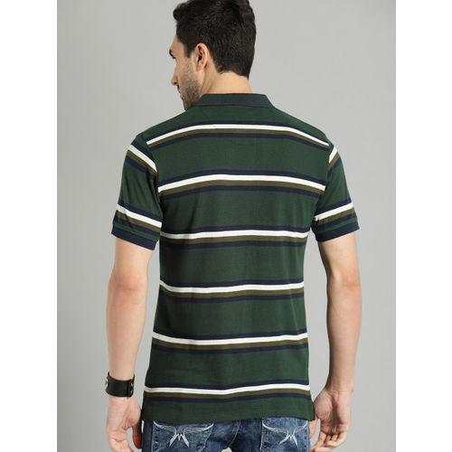Roadster Men Green & White Striped Polo Collar T-shirt