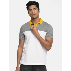 Calvin Klein Jeans Men White & Grey Melange Colourblocked Polo Collar T-shirt