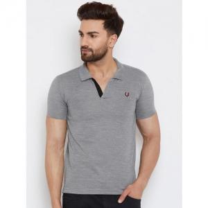 Duke Men Grey Self Design Polo Collar T-shirt