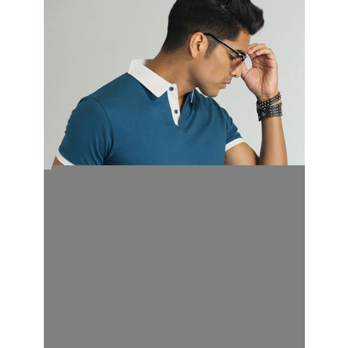 Roadster Men Teal Blue Solid Polo Collar T-shirt