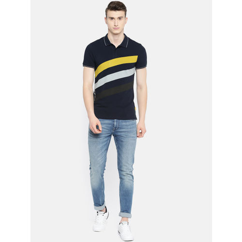 Jack & Jones Men Navy & Yellow Striped Slim Fit Polo Collar T-shirt