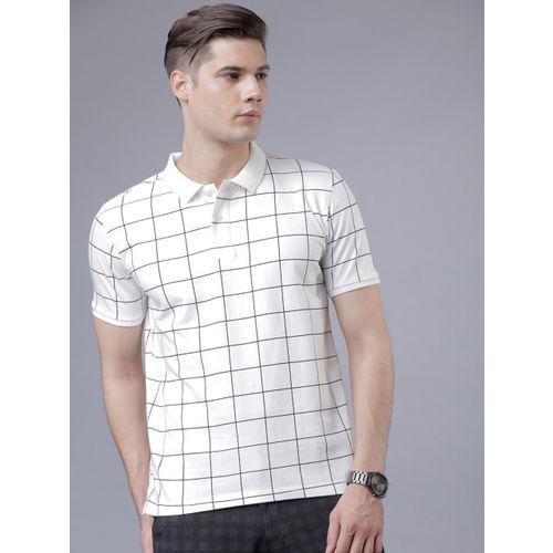 HIGHLANDER Men White Checked Polo Collar T-shirt
