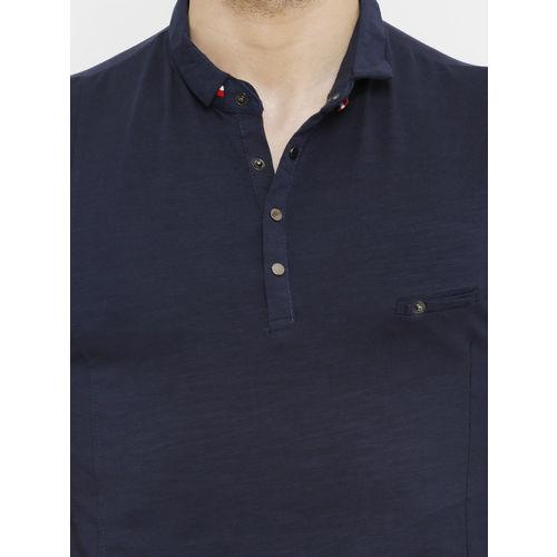 Rex Straut Jeans Men Navy Blue Solid Polo Collar T-shirt