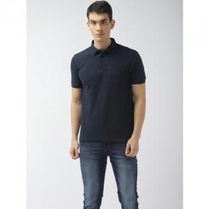 Flying Machine Men Navy Blue Solid Polo Collar T-shirt