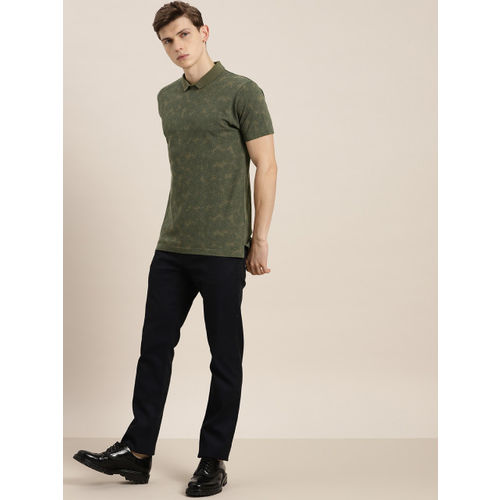 INVICTUS Men Olive Green Printed Polo Collar T-shirt