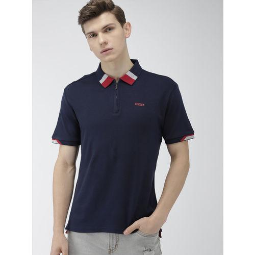 Levis Men Navy Blue Solid Slim Fit Polo Collar T-shirt