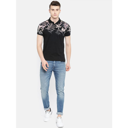 Jack & Jones Men Black Printed Slim Fit Polo Collar T-shirt