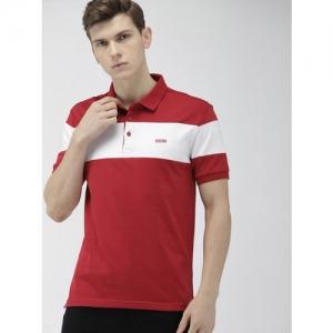 Levis Men Red & White Colourblocked Slim FIt Polo Collar T-shirt