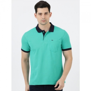 Cloak & Decker by Monte Carlo Men Green Solid Polo Collar T-shirt