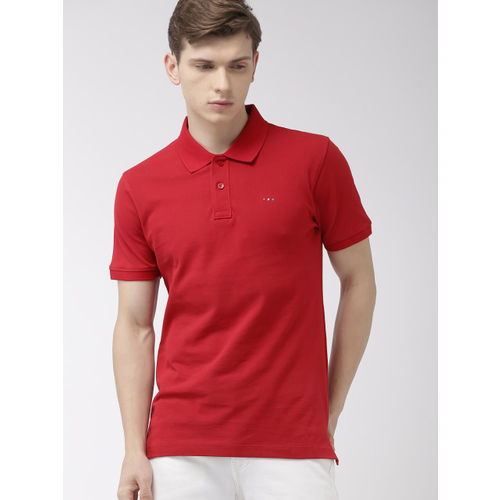 Harvard Men Red Solid Polo Collar T-shirt