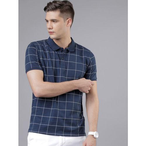 HIGHLANDER Men Navy Blue Checked Polo Collar T-shirt