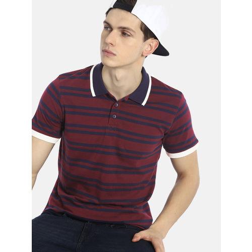 SINGLE Men Maroon & Navy Blue Striped Polo T-shirt