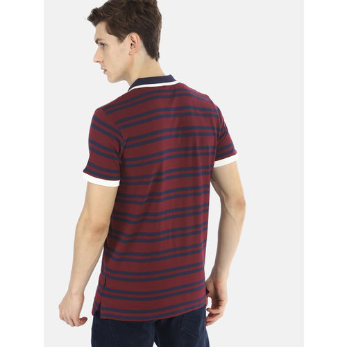 SINGLE Men Maroon & Navy Blue Striped Polo T-shirt
