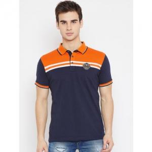 Duke Men Navy Blue Striped Polo Collar T-shirt