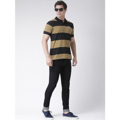 Club York Men Black Striped Polo Collar T-shirt