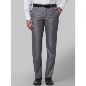 Park Avenue Men Grey Slim Fit Self Design Formal Trousers