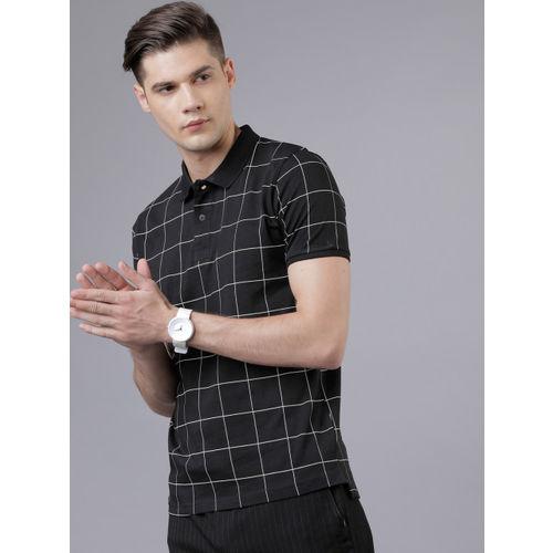 HIGHLANDER Men Black Checked Polo Collar T-shirt