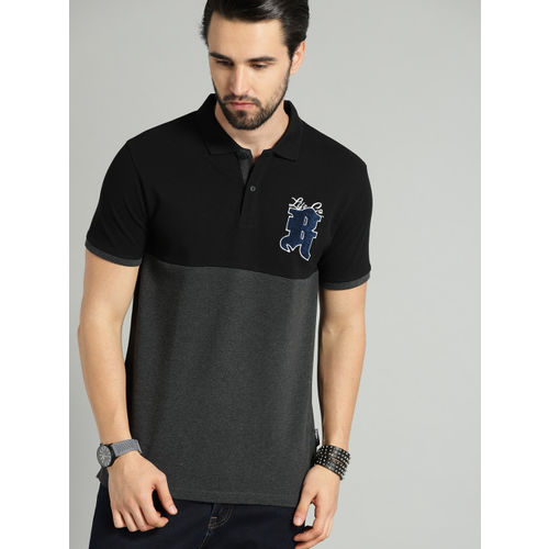 Roadster Men Charcoal Grey & Black Colourblocked Polo Collar T-shirt
