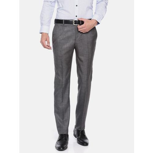 Raymond Men Grey Slim Fit Solid Formal Trousers