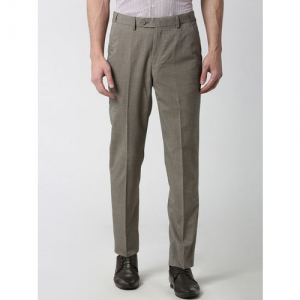 Peter England Men Grey Slim Fit Self Design Formal Trousers