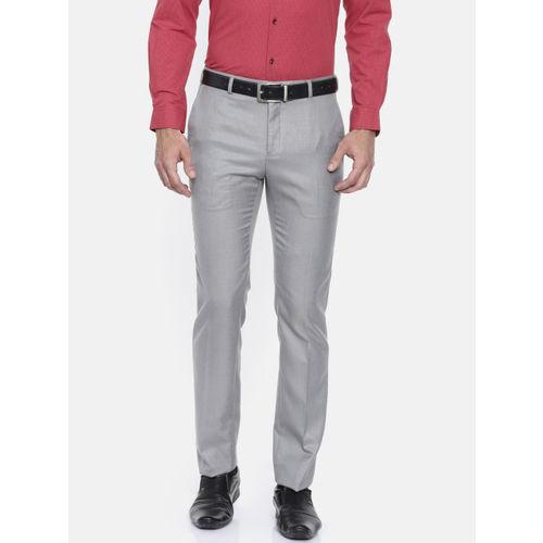 Raymond Men Grey & Beige Slim Fit Solid Formal Trousers