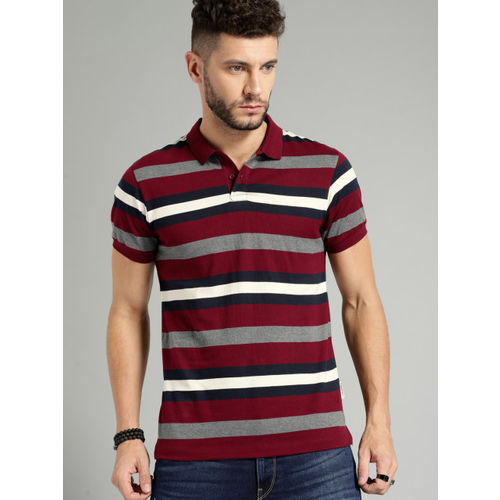Roadster Men Maroon & Grey Striped Polo Collar T-shirt