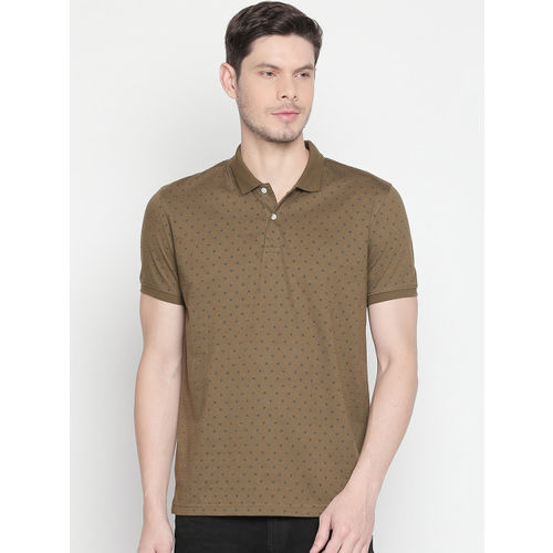 BYFORD by Pantaloons Men Olive Brown Printed Polo Collar Slim Fit T-shirt