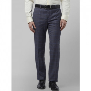 Park Avenue Men Grey Slim Fit Checked Formal Trousers