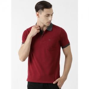 Cloak & Decker by Monte Carlo Men Maroon Solid Polo Collar T-shirt