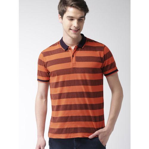 Mast & Harbour Men Orange Striped Polo Collar T-shirt