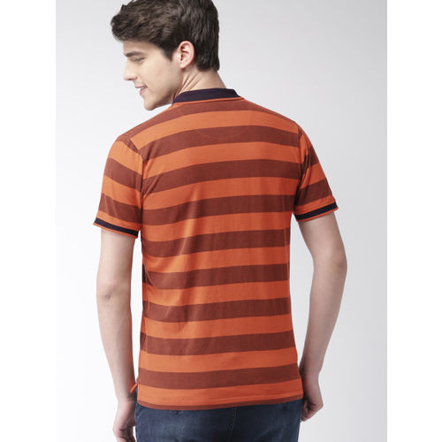 Mast & Harbour Men Orange Striped Polo Collar T-shirt