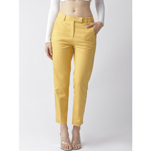 Marks & Spencer Women Mustard Yellow Regular Fit Solid Regular Cropped Trousers