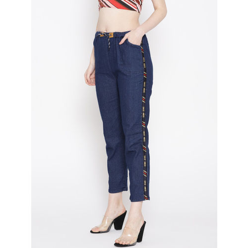 ANTS Women Navy Blue Skinny Fit Solid Regular Denim Cropped Trousers