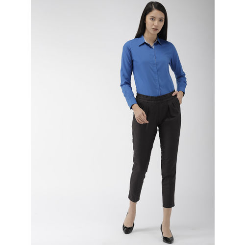 Ombre Lane Women Charcoal Grey Smart Regular Fit Checked Smart Casual Cropped Peg Trousers