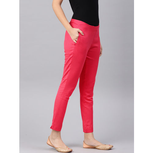 Alena Women Coral Pink Slim Fit Solid Cropped Cigarette Trousers