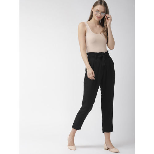 Mast & Harbour Women Black Regular Fit Solid Peg Trousers